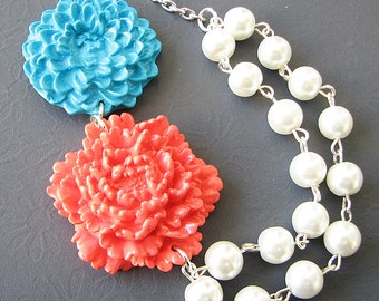 Statement Necklace Turquoise Jewelry Flower Necklace Coral Jewelry Wedding Necklace Wedding Jewelry
