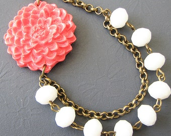 Beaded Necklace Bridesmaid Jewelry Coral Necklace White Jewelry Flower Necklace Crystal Necklace Statement Necklace