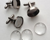 8 pcs Combo  - Gunmetal Black Brass Round bezel cufflink base Blank with Glass tile inserts Cadmium free