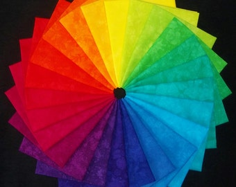 Hand Dyed Fabric, IVES Color Wheel, 24 Fat Quarters in Brilliant Rainbow Brights