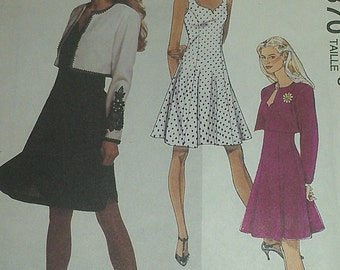 Fitted and Flared Sun Dress with Bolero Jacket 10 12 14 McCalls 5870