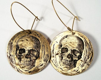 Etched Brass Skull Earrings