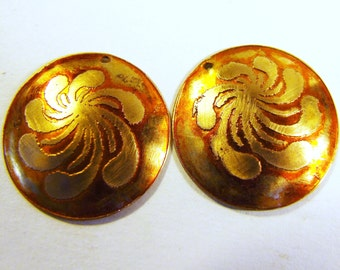 PAIR Etched Brass Charms Domed Yellow - Free Domestic Shipping