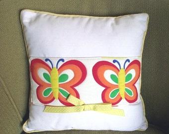 Butterfly Pillow / Vintage 80s Handmade Pillow