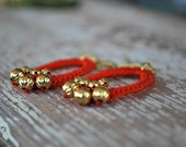 Beaded Crochet Earrings - Orange Red - Metallic Gold Beads - Oval - Lightweight Earrings
