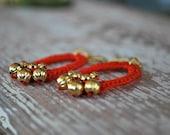 Beaded Crochet Earrings - Orange Red - Metallic Gold Beads - Oval - Lightweight Earrings