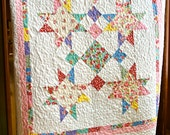 Quilt Baby Girl Handmade Old New 30s by Lecien Crib Nursery Lap Patchwork Throw Vintage