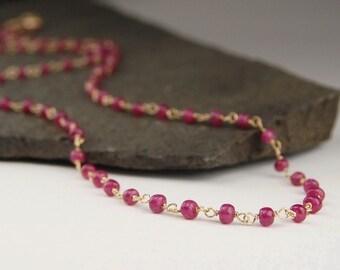 Ruby necklace, handmade wire wrapped ruby links, gold wire jewelry, July birthstone, gemstone necklace - Maia