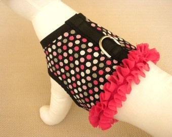 Polka Dot Ruffle Dog Harness Vest