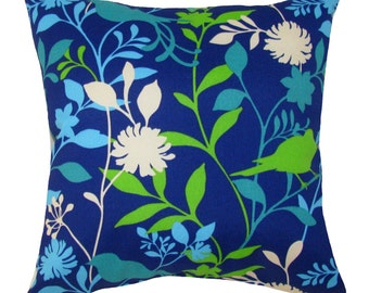 CLEARANCE - Richloom Birdie Azzure Blue, Green, teal, Cream Outdoor Decorative Pillow -- Free Shipping