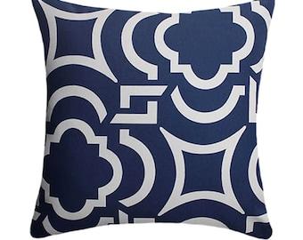 Navy Outdoor Pillow, Navy Geometric STUFFED Pillow, Richloom Carmody Navy, Modern Outdoor Pillow Free Shipping