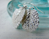 Tiny Sterling Silver Earrings. Small Dangle Earrings. Silver Leaf Earrings. Rustic Leaf Earrings. Boho Earrings. Mountain Jewelry