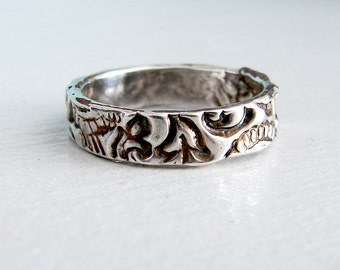 4mm Sterling Silver Lace Ring. Paisley Wedding Ring. Rustic Mountain Wedding Ring. Patterned Wedding Ring. Medieval Ring. Patterned Ring
