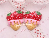 Double Strawberry Ice Cream Cabochon Fake Sweets Deco Decoden Kawaii Resin Cabochon Set of 5pcs