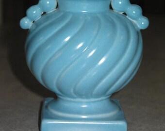 Art Deco triple ball handle Stangl Pottery satin blue swirl urn Vase on pedestal