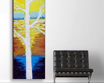 Sunlit Birch no. 3 (20x60) original painting on canvas by Kristi Taylor