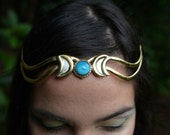 SALE was 152USD - Elven Fairy Pixie Tribal Brass Turquoise Triple Goddess Moon Witch Tiara Crown Head Piece OOAK