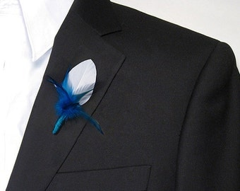 Cobalt blue boutonniere pin feather lapel pin blue wedding groom pin feather flowers groomsmen lapel blue feathers wedding flowers for men