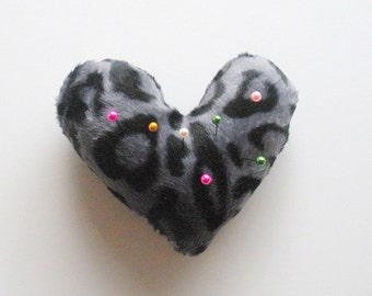 Leopard Print Heart Shaped Pin Cushion in Charcoal, ready to ship.