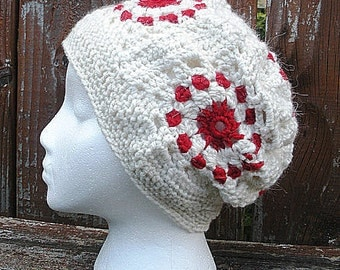 SALE, Granny Squares Crochet Slouch hat in White and Red, ready to ship.