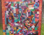 Crazy Modern art quilt geometric abstract patchwork wall hanging Quilter at Play or Chaos