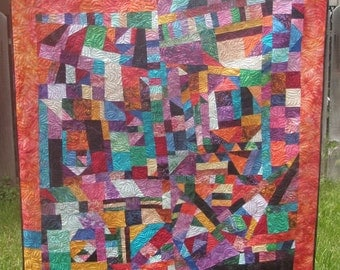 Crazy Modern art quilt abstract patchwork wall hanging Quilter at Play Quiltsy Handmade