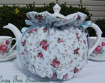Tea Cozy for 6-8 Cup Teapot Spring Floral Blue Reversible, Insulated Tea Pot Tea Cozy Cosy Also Available in 1-2 Cup and 2-4 Cup Sizes