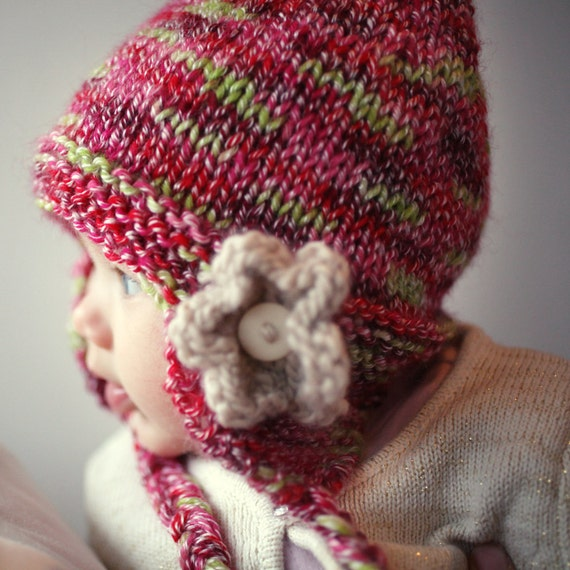 Knitting Pattern For Child s Earflap Hat : Baby Hat Knitting Pattern Knit Earflap Hat PDF Knitting