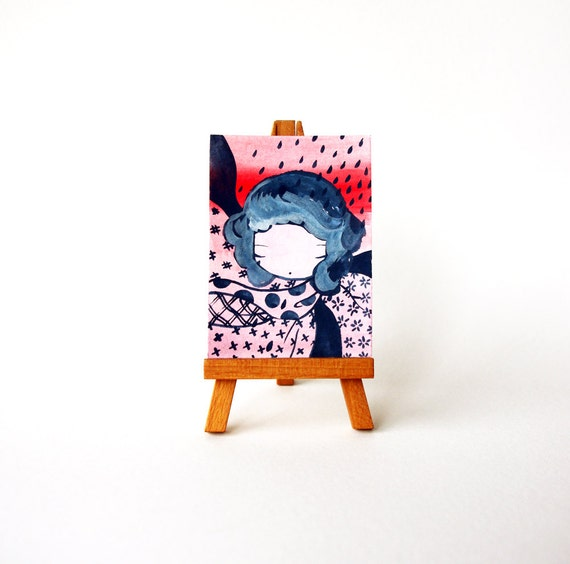 Watercolor Painting - Tiny original artwork - One of a Kind ACEO art card - number 80