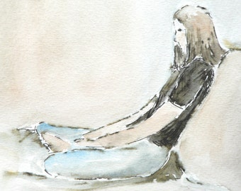original ink and watercolor painting of a woman sitting quietly contemplating and reflecting