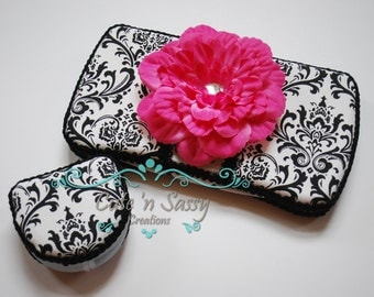2 Pc Set Boutique Flip Top Baby Wipe Case and Pacifier Case - White and Black Damask Covered Cases