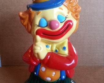 1970-1975 Large Hard Plastic CLOWN IN LOVE Bank from Carnivals and Circus