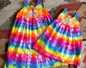 Girls Tie Dye Cotton Tank Dress - Empire Waist - Toddler or Youth Size - Rainbow Peace Sign - Made to Order