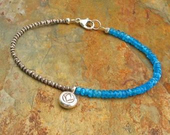 Apatite Thai Hill Tribe Silver Bracelet - Aqua Lotus