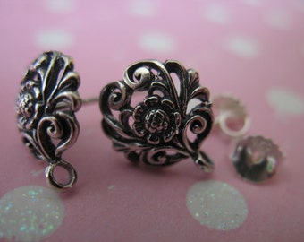 Shop Sale.. 1 pair, Sterling Silver Post Earrings, DAISY FLOWER, 12x10 mm, wholesale nature organic artisan - p1 solo