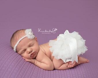 RTS Newborn Girl Photo Prop Ruffle Diaper Cover & Headband Photo Props SeT, Chalk Ivory Chiffon Baby Girl Newborn Bloomers, White, Cream