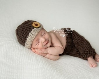 Knit Newborn Pants & Hat Photography Props, Fisherman SET, Diaper Cover, Newborn Clothes, Baby Hat, Newborn Hat, Photo Props, Baby Boy Props