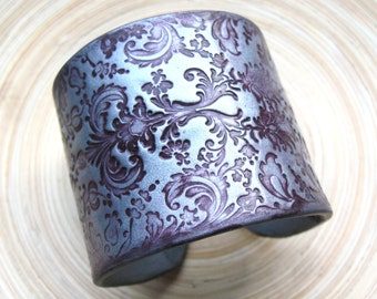 SALE Deep Burgundy Wine Brocade Damask on Silver Cuff Bracelet, Handmade Jewelry by theshagbag on Etsy