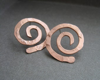 Small Swirl Post Earrings in Copper or Bronze