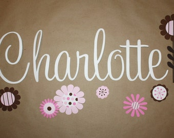 Fabric WALL NAME DECALS Pink Mod Flowers Girls Bedroom Baby Nursery Wall Name Decal