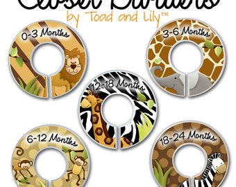 CLOSET DIVIDERS In the Jungle Kids Bedroom and Jungle Safari Animals Baby Nursery Art Decor CD0031
