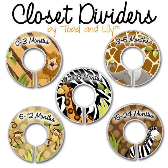 CLOSET DIVIDERS In the Jungle Kids Bedroom and Jungle Safari Animals Baby Nursery Art Decor CD0031