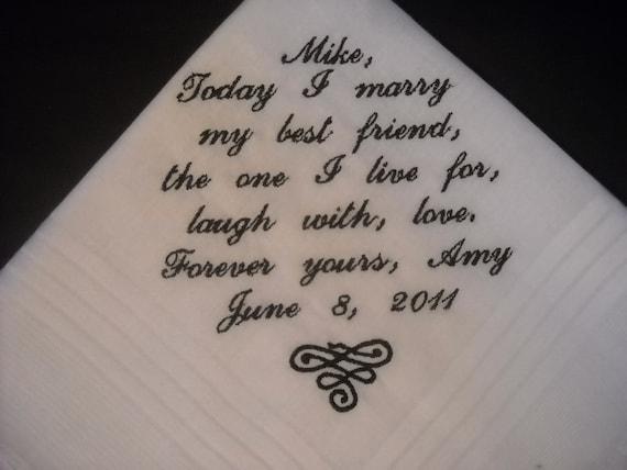 Wedding Hankie Handkerchief Poem Today I Marry My Best Friend
