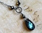 Blue Labradorite Necklace, Spectrolite Necklace, Pyrite, Oxidized Sterling Silver - CircesHouse on Etsy, Lightning Flashes