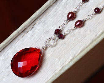 Red Quartz Necklace with Garnet and Pearl on Sterling Silver - Byzantium by CircesHouse on Etsy