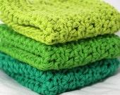 Crochet Dishcloths Washcloths Fresh Grass Green Colors Set of 3