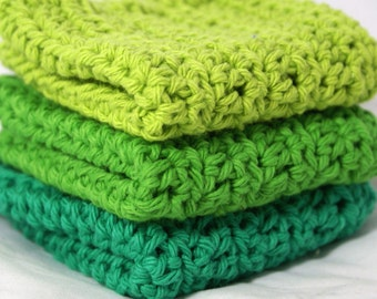 Crochet Dishcloths Washcloths Fresh Grass Green Colors Set of 3