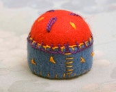 Handmade Red and Blue Miniature Pin Cushion