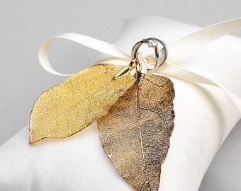 Gold ring pillow, rustic wedding ring pillow, ring pillow alternative - Real leaves