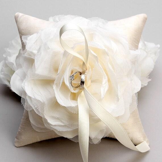 Ivory flower ring pillow, rustic wedding pillow, bridal ring bearer - Laurel